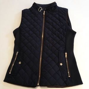 Zara Woman Quilted Vest Black Brown Gold Hardware
